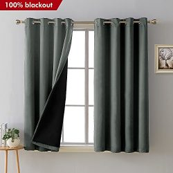 Deconovo Total Blackout Curtains Grommet Thermal Insulated Room Darkening Faux Silk Satin Grey L ...
