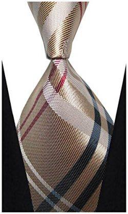 w3dayup mens Classic Tie Necktie Woven Plaid Neck Ties For Men Stripe Neck Tie BBR003