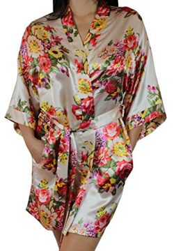 Ms Lovely Women's Satin Floral Kimono Short Bridesmaid Robe W/Pockets – Champagne M/L