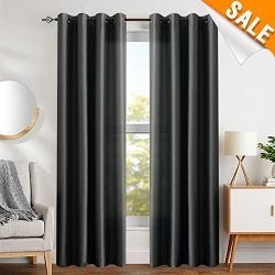 Faux Silk Curtains Black 84 inches Long Satin Curtain Panels for Bedroom Light Filtering Privacy ...