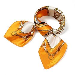 QBSM Womens Orange Gold Chain Satin Silk Feeling Formal Square Neck Scarf Head Hair Scarfs Wraps ...