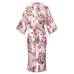 Old-to-new Women's Lightweight Patterned Long Kimono Robe Silk Bathrobe with Pockets Pagod ...