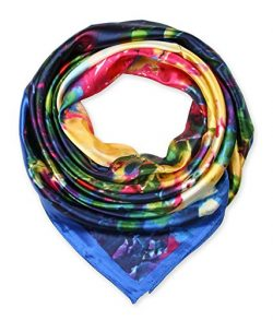 Large Square Satin Silk Like Lightweight Scarfs Hair Sleeping Wraps for Women Yellow Blue Abstra ...