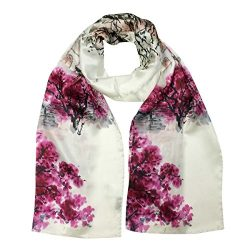 Wrapables Luxurious 100% Charmeuse Silk Long Scarf with Hand Rolled Edges, Crimson Landscape