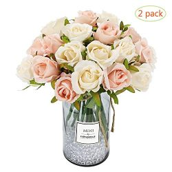 CEWOR 2pcs Artificial Flowers Silk Flowers Artificial 12 Heads Rose Bouquet for Home Bridal Wedd ...