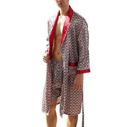 Yesky Men's Satin Robe Silk Spa Long Sleeve Kimono Bathrobe Classic Satin Sleepwear
