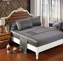 Silk Soft Satin Bed Sheet Set,Anti Slip Satin Sheet Sets,Luxury Sheets with Satin Pillow Cases,1 ...