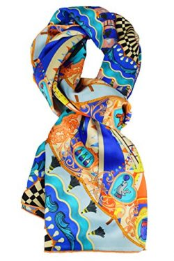 ELEGNA Women 100% Silk Art Collection Scarves Long Shawl Hand Rolled Edge (A-Blue Circus)