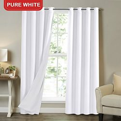 Full Light Blocking Lined Curtains Solid White 84 Inch Long Faux Satin with White Liner Noise Re ...