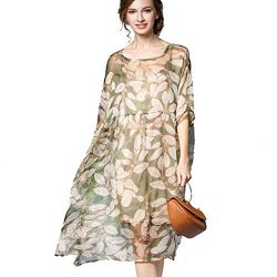 Aeneontrue Women's New Leave Printed Silk Plus Size Swing Dress 2 Pieces (XXXXL, Green)