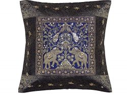 NovaHaat Navy Blue and Gold Zari Brocade Silk Blend Sari Decorative Sequin and Bead Work Accent  ...