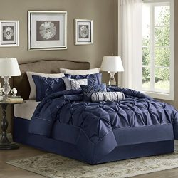 Madison Park Laurel Queen Size Bed Comforter Set Bed In A Bag – Navy, Wrinkle Tufted Pleat ...