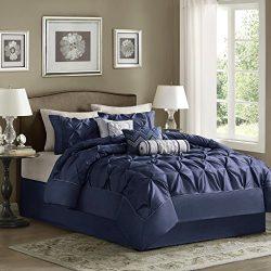 Madison Park Laurel King Size Bed Comforter Set Bed In A Bag – Navy, Wrinkle Tufted Pleate ...