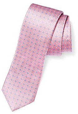 Buttoned Down Men's Classic Silk 3″ Necktie, pink windowpane, Regular