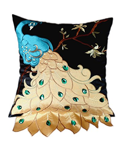 New Fashion Fancy Vivid Peacock Embroidery Decorative Throw Pillow Case Cushion Cover Sham for S ...