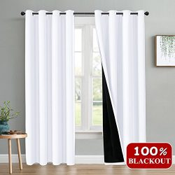PONY DANCE Full Blackout Curtains with Liner (52″ x 84″ Wide by Drop, Pure White, 2  ...