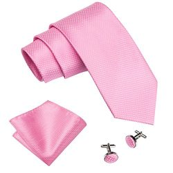 Barry.Wang Tie Set Pink Handkerchief Cufflinks Necktie Set Silk