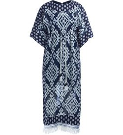 Tory Burch Women's Beatrice Blue Silk Dress with White Geometries 2(NUMERICHE)-(US) Multic ...