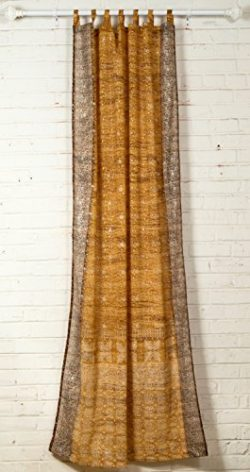 GOLD Curtain, Honey Amber accents curtain panel, SARI Curtain, Earth tones, 84″Long panel, ...