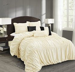 EverRouge Mia All Season Silk 7-piece Comforter Set (Choice Color and Size) (Ivory, California King)