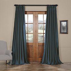 HPD HALF PRICE DRAPES Half Price Drapes PTCH-JTSP194010-108 Faux Silk Taffeta Curtain, Navy Blue