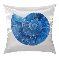 Moslion Shell Pillow Home Decorative Throw Pillow Cover Case Blue Ammonite Satin Square Cushion  ...
