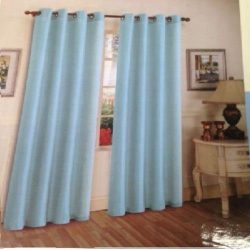 Baby Blue Solid Grommet Style In 108″ Lenth 1 Pc Solid Grommet Faux Silk Window Curtain Dr ...