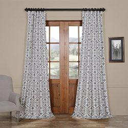 HPD HALF PRICE DRAPES Ptpch-170802C-120 Iron Gate Faux Silk Taffeta Blackout Curtain, 50 x 120, Grey