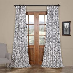 HPD HALF PRICE DRAPES Ptpch-170802C-84 Iron Gate Faux Silk Taffeta Blackout Curtain, 50 x 84, Grey