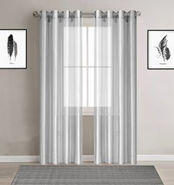 Stylish Faux Silk Semi-sheer curtains for Girls – Set of 2 Panels – Grommets Window  ...