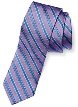 Buttoned Down Men's Classic Silk 3″ Necktie, lavender/blue stripe, X-Long