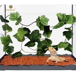SunGrow Natural Looking Reptile Plants – Vibrant Green Terrarium Plastic Plants by 6.5ft E ...