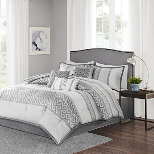 Madison Park Bennett King Size Bed Comforter Set Bed In A Bag – Grey, Jacquard Geometric – ...