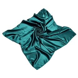 TrendsBlue Elegant Large Silk Feel Solid Color Satin Square Scarf Wrap 36 Inch, Teal