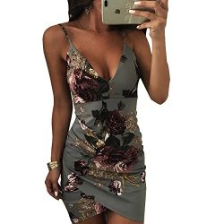 GOODRACE Women's Wrap V Neck Spaghetti Strap Floral Split Beach Casual Dress (Small, Gray)