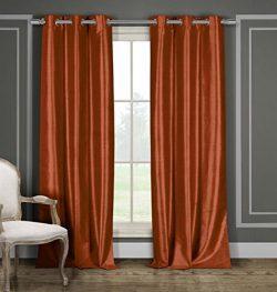 DUCK RIVER TEXTILES – Bali Faux Silk Grommet Top Window Curtain 2 Panel Drape, 38 X 84 Inc ...