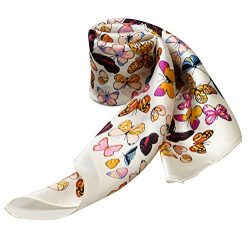 100% Silk Scarf Neckerchief Small Square Print Scarves Women (Flying Butterfly Beige)
