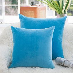 Luxury Velvet Throw Pillow Covers Soft Smooth Decorative Pillowcases Cushion Cover Solid 9 Color ...