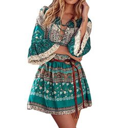 Goddessvan Womens 3/4 Sleeve Floral Print Boho Party Dresses Plus Size with Belt (L, Green)
