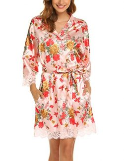 Hotouch Women's Kimono Robes Floral Silk Nightwear Short Style