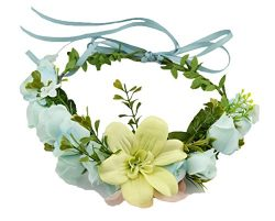Vivivalue Lily Handmade Boho Flower Wreath Headband Halo Floral Hair Garland Crown Headpiece wit ...