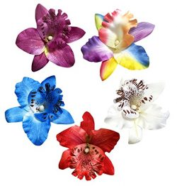 HipGirl 5pc Set 2″ Hawaii Hawaiian Orchid Silk Flower Hair Clip Accessory, Boutique Alliga ...