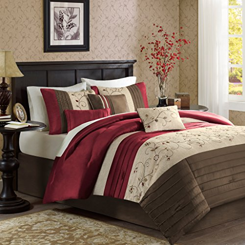 Madison Park Serene King Size Bed Comforter Set Bed In A Bag – Red, Embroidered – 7 Pieces ...