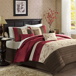 Madison Park Serene Queen Size Bed Comforter Set Bed In A Bag – Red, Embroidered – 7 Piece ...