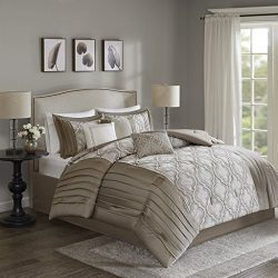 JLA Home INC Madison Park Mara King Size Bed Comforter Set Bed In A Bag – Taupe, Embroider ...