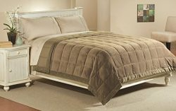 Luxlen Full/Queen Microfiber Blanket in Walnut, Reversible: Soft Plush to Satin Cool