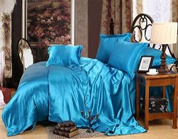 Bedding Kraft Hotel Quality 100% Silky Satin 5 Pc. Comforter Sheet Set (1 Comforter + 1 Fitted S ...