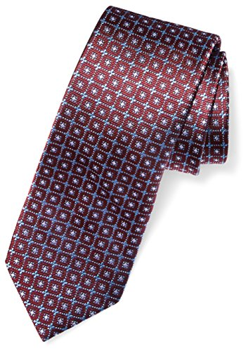 Buttoned Down Men's Classic Silk 3″ Necktie, burgundy windowpane, Regular