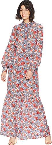 Juicy Couture Women's Larchmont Blooms Silk Maxi Dress Slate Swirl Larchmont Blooms 6
