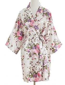 luxurysmart Cherry Blossoms Floral Satin Kimono Robe, White, One Size